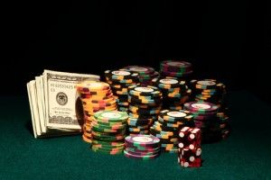 casino chips and cash
